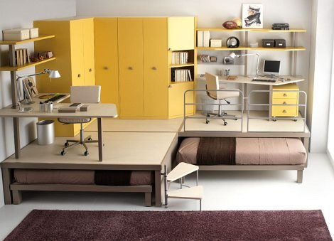 kid and teen furniture | Yellow and Beige Teen Bedroom Furniture | Modern Furniture Design in ...