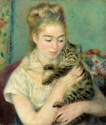 Pierre-Auguste Renoir, Woman with a cat, 1875