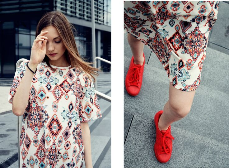 #fashion #legs #adidas #adidassupercolor #print #dress #minimalizm #minimalism #red #hair #oversize