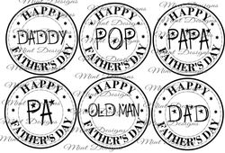 6 FATHERS DAY digi stamps  circle stamps  DADDY  POP  PAPA  PA  OLD MAN  DAD on Craftsuprint - View Now!