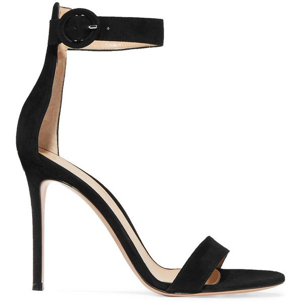 Gianvito Rossi Portofino suede sandals (760 CAD) ❤ liked on Polyvore featuring shoes, sandals, black, strappy sandals, high heel shoes, black sandals, black strappy sandals and suede shoes