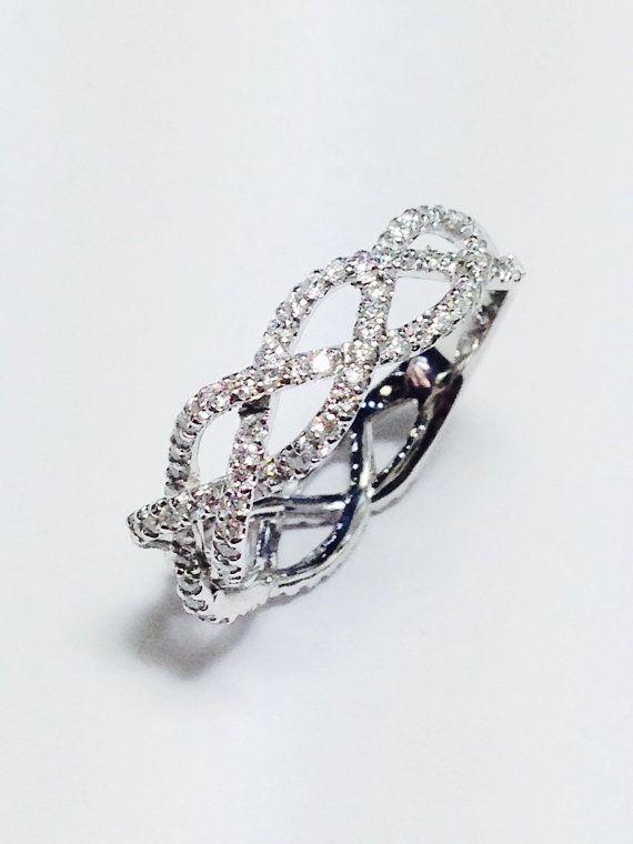 3/4CT Diamond Braided Crisscross Band Diamonds Wedding Bands, Anniversary Ring…