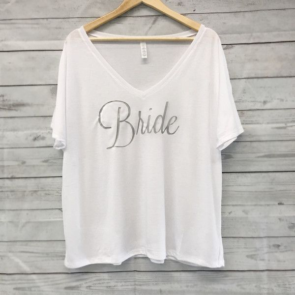 Bride Flowy Tee White Bride Shirt Relaxed Flowy v Neck Tees ($22) ❤ liked on Polyvore featuring tops, t-shirts, silver, women's clothing, v-neck shirt, relaxed fit t shirt, white t shirt, white v neck t shirt and bridal t shirts