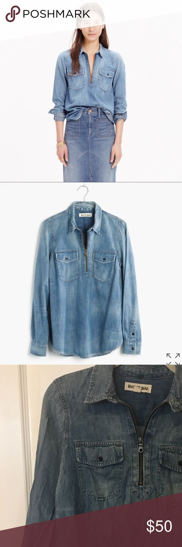 RIVET AND THREAD Denim Zip Up Shirt Chambray/ Worn a hand full of times. Madewell Tops Blouses
