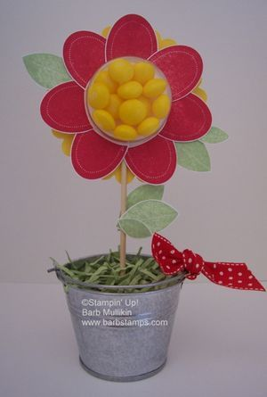 Stampin up Treat Cup, would be cute in those mini flower pots.