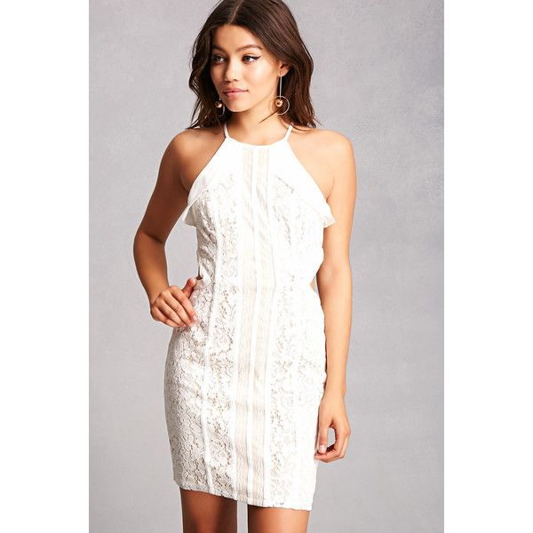 Forever21 Aryn K Lace Cutout Dress ($58) ❤ liked on Polyvore featuring dresses, white, lace camis, white ruffle dress, lace cut-out dresses, cami dresses and lace camisole