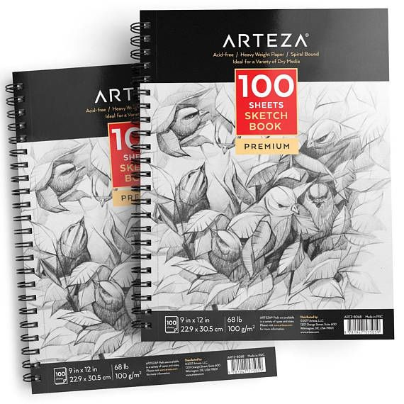 Set Of 2 Premium Sketch Pads Each With 100 Sheets Measuring 9 X