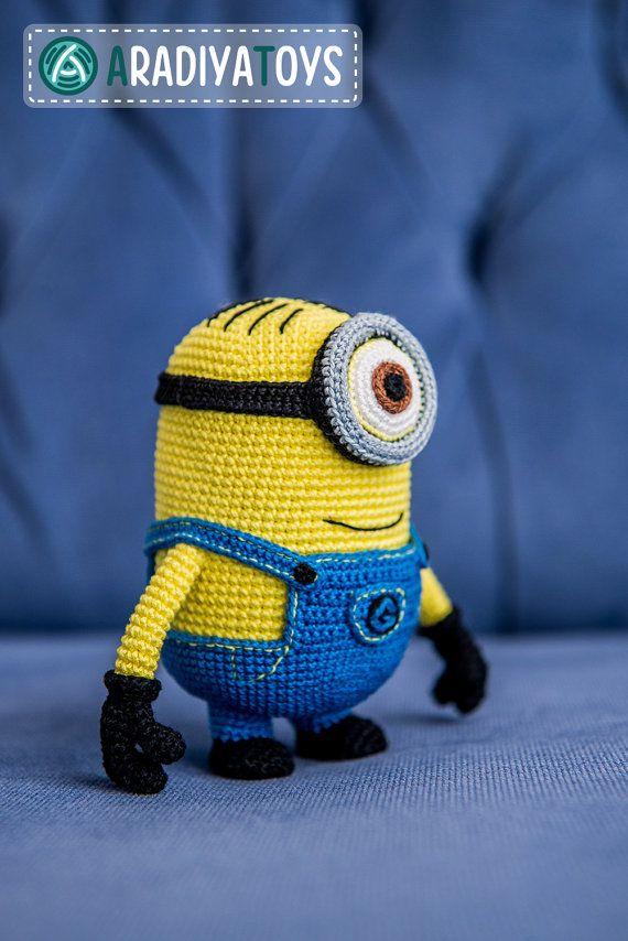 Crochet Pattern de monstre jaune avec un oeil Amigurumi par Aradiya