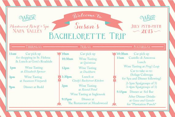 Bachelorette Weekend Itinerary By Oohlalovely On Etsy 3000