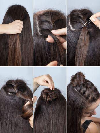 Half Buns sind angesagter denn je - und geflochten sieht die Frisur umso cooler aus: Teilt das obere Deckhaar ab und beginnt diesen Bereich französisch zu flechten. Am Hinterkopf angekommen verschließt ihr den Zopf mit einem feinen Haargummi und dreht das Zopfende zum Dutt. Mit einigen Haarnadeln feststecken.Hier haben wir alle Frisuren auf einen Blick für euch: Frisuren