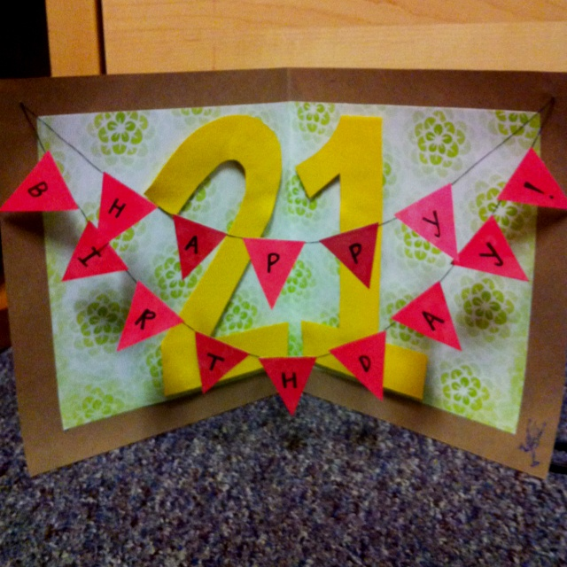 Card Making Ideas 21st Birthday Part - 47: My First DIY Birthday Card! Turned Out Pretty Better Than Expected!