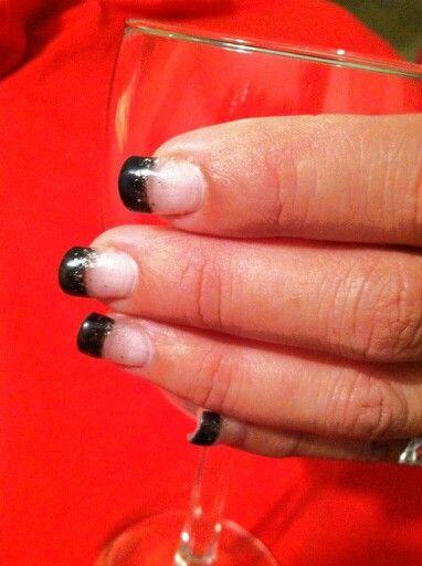 Black & glitter gel nails | Nails | Pinterest