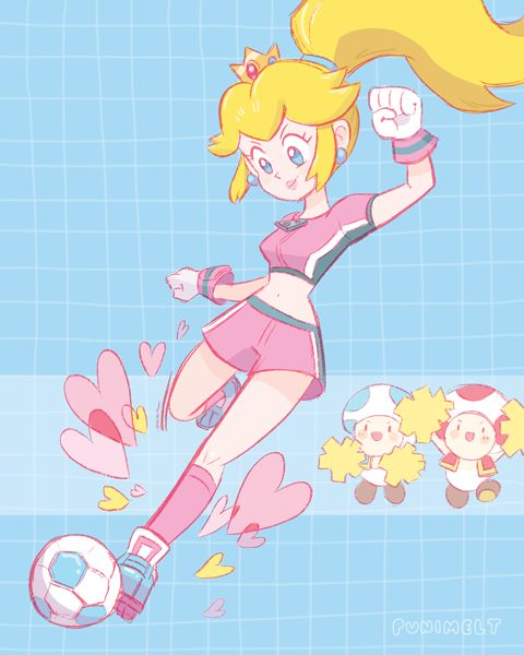 Soccer Peach kicking a Soccer ball with two Toads encouraging her.
