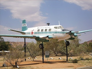 A preserved Royal Flying Doctor plane at the Alice Springs Cultural Centre, Northern Territory