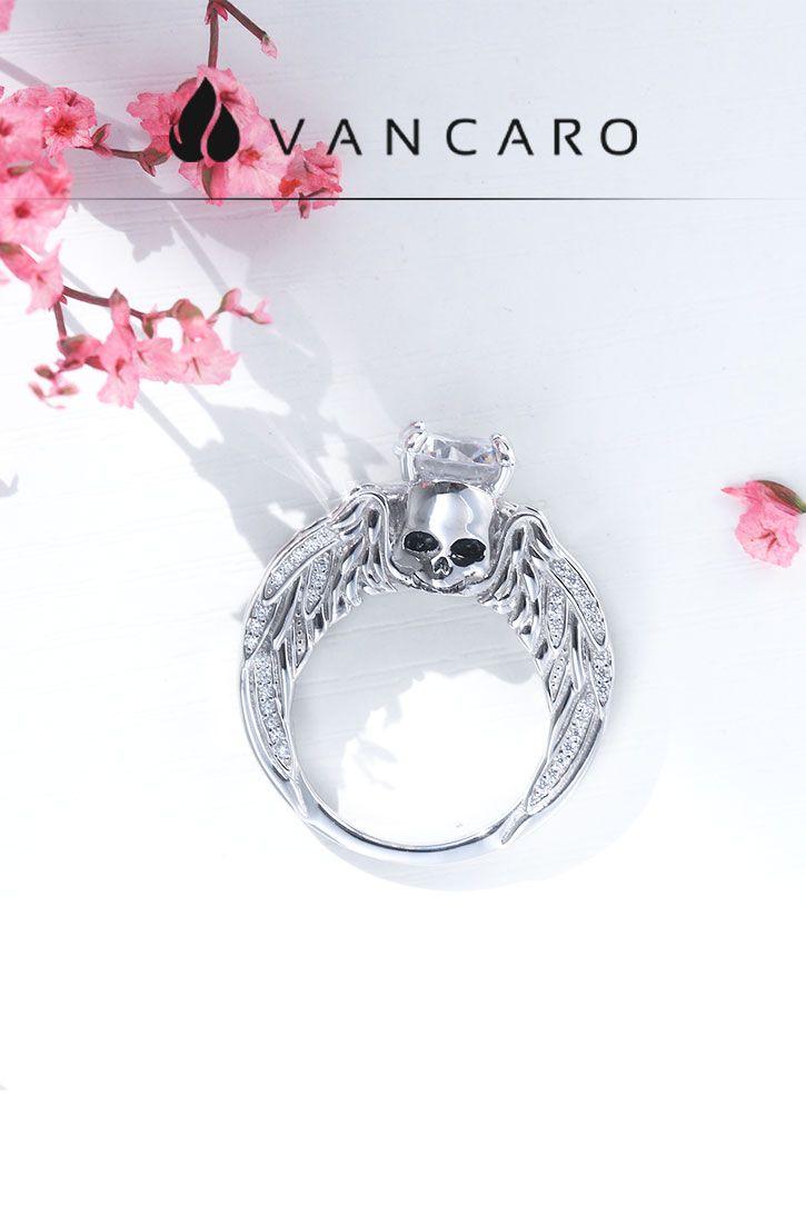 Round Cut White Cubic Zirconia Skull Series Sterling Silver Ring: Vancaro Wedding Bands Skulls At Websimilar.org