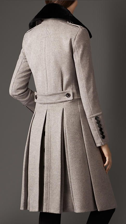 Burberry Wool-cashmere blend Military coat.. Gah! Love the pleats and I just want to pet it.