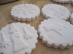 Scandinavian Christmas: Day 1 Cornstarch, baking soda, water, cookie stamps, cookie cutters, ribbons