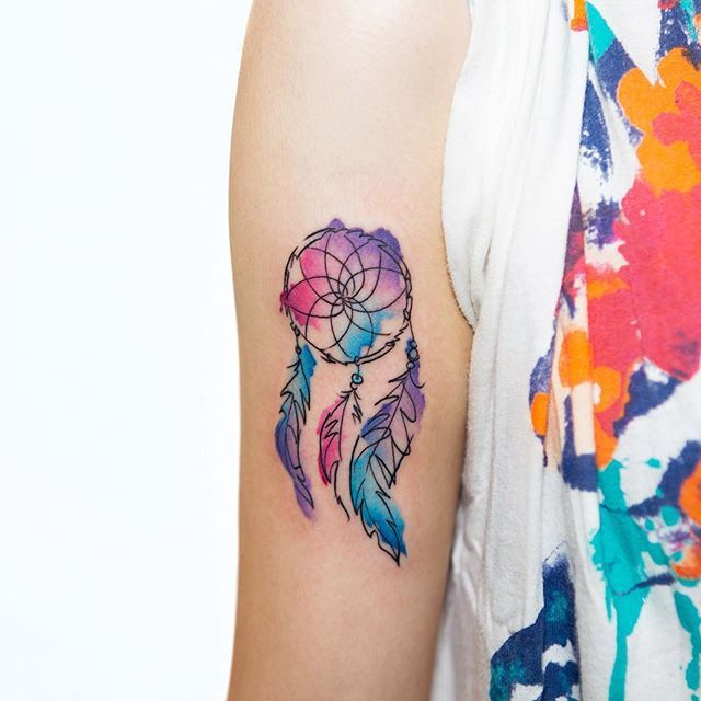 Dreamcatcher Watercolor Tattoo Bangbangnyc Georgiagreytattoos