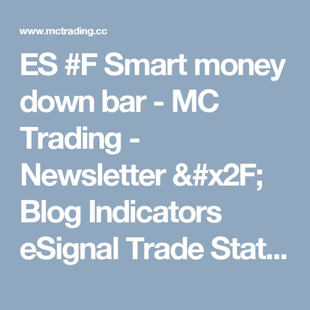 ES #F Smart money down bar - MC Trading - Newsletter / Blog Indicators eSignal Trade Station Forex Stock Market Commodities Futures