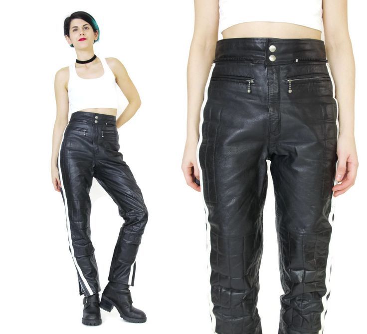 Womens Black Leather Motorcycle Pants 1990's Leather Biker Pants Quilted Skinny…