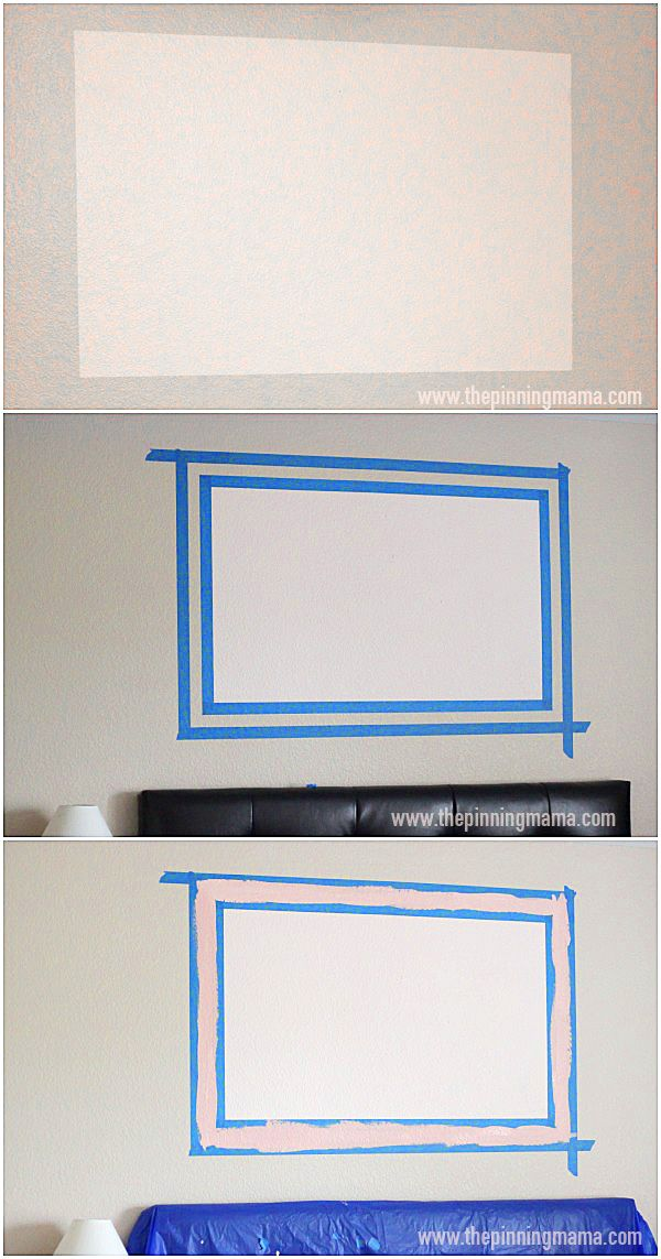 How to paint a frame on the wall. This is so cool! It is a thrifty way to make a big impact on decor in the room!