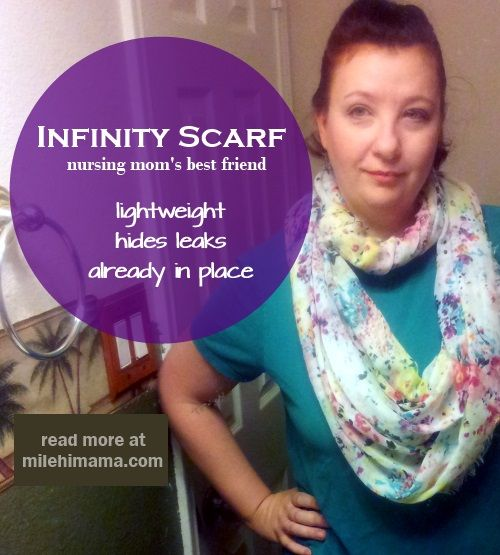 Infinity scarf nursing cover up - just one way to breastfeed in public without sweating to death under a blanket!