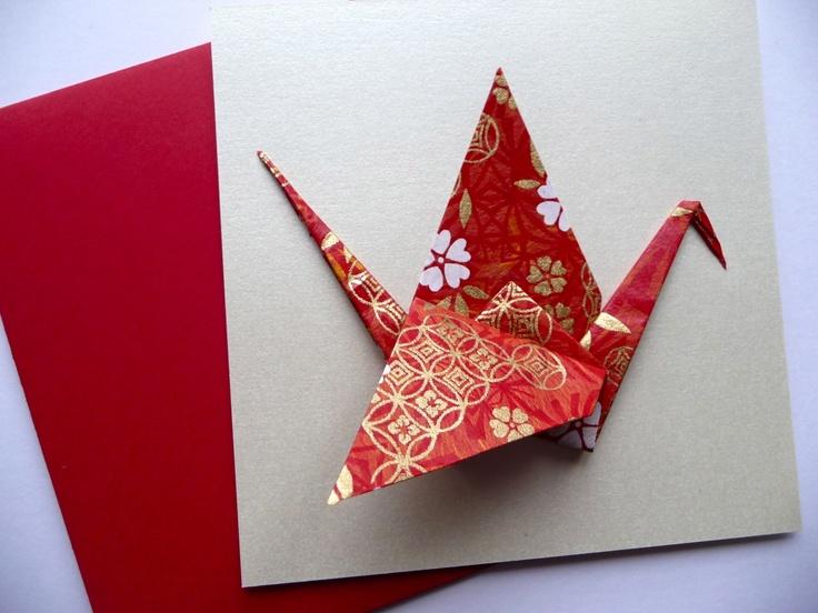 Carte de voeux origami - grue en papier japonais rouge et or