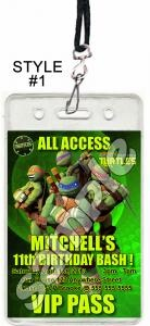 Teenage Mutant Ninja Turtles Set of 12 VIP Party Invitation Passes or Party Favors by reelpartyinvitations