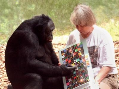 Dr. Savage-Rumbaugh and Kanzi the bonobo. Dr. Savage-Rumbaugh developed the lexigram, allowing bonobos to communicate in English.