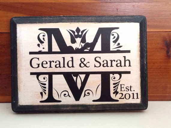 Monogram Wedding Gifts Ideas: Personalized Monogram Wall Plaque Last Name Initial