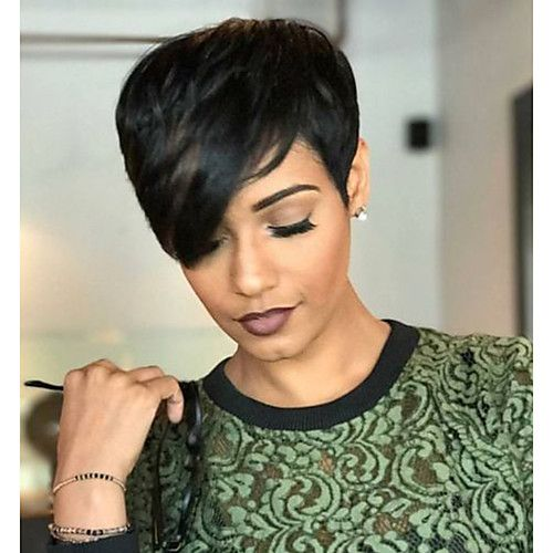 Human Hair Capless Wigs Human Hair Wavy Pixie Cut / Short Hairstyles 2019 Natural Hairline Natural Black Machine Made Wig Women's