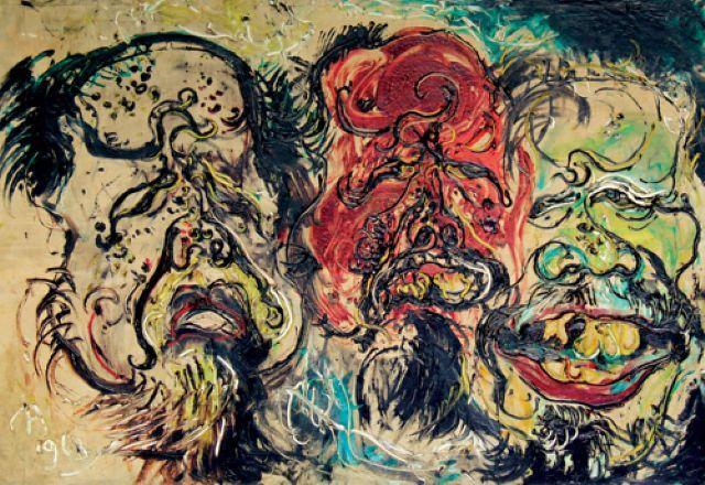 Three Self-Portraits, Affandi