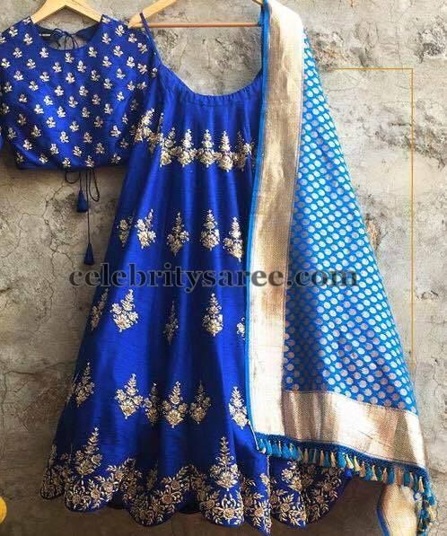 Zardosi Work Half Sari in Blue