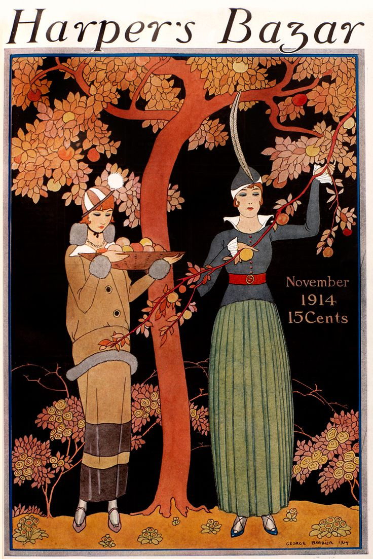 indigodreams:harpersbazaar: November 1914 Georges Barbier (French illustrator, 1882-1932) ~Preparing for the feast …