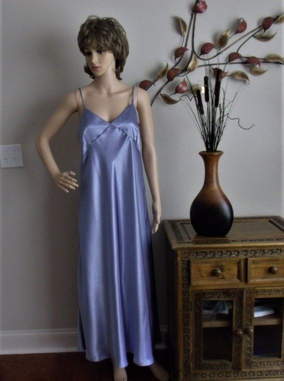 Lovely Cabernet Full Length Nightgown Size Large Lt. Blue Satin ... 29742570b
