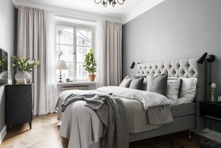Gardinupphägning sovrum. Tjocka och tunna gardiner, takhängda