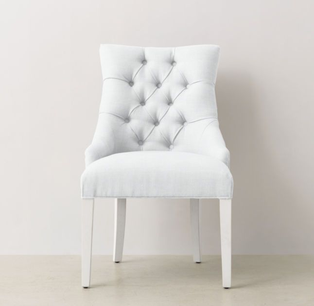 Martine Tufted Desk Chair - Distressed White