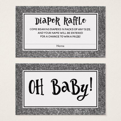 Silver Glitter Baby Shower Diaper Raffle Cards - glitter gifts personalize gift ideas unique