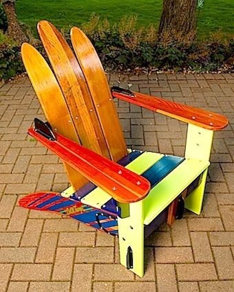 Vintage Cypress Gardens water ski adirondack chair, great idea for all those old water skis