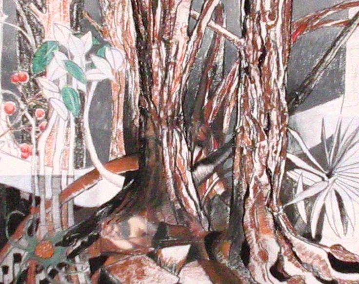 Rowan in the woods - part two of diptych.   Mixed media on paper