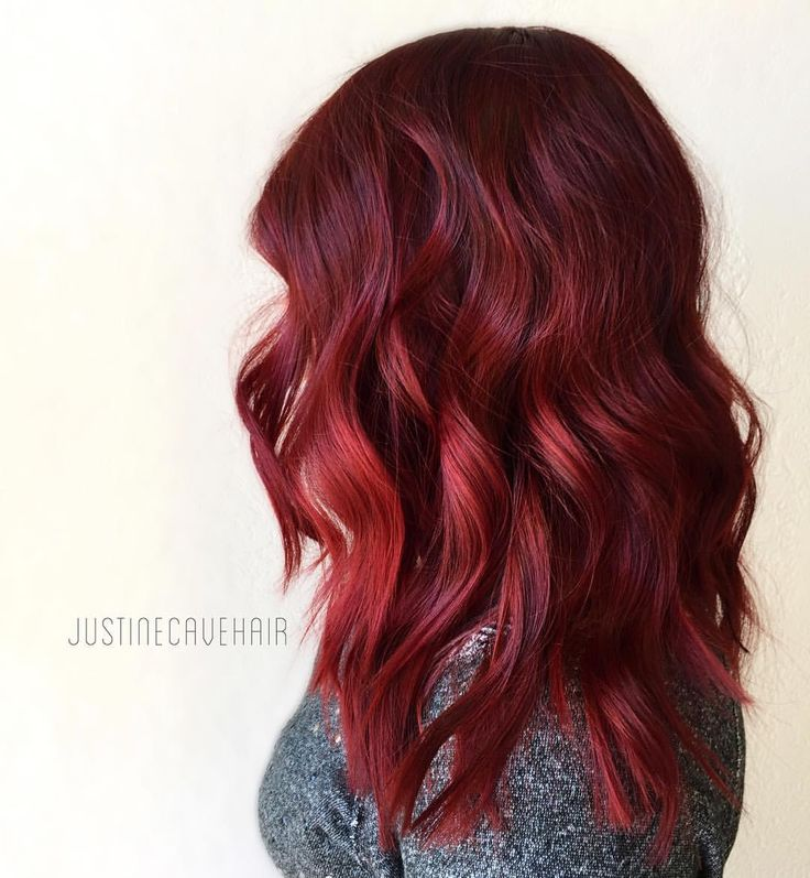 """Justine Cave on Instagram: """"Just straight up ruby red greatness. Bright, bold & saturated achieved with @pravana 6.66 + red additive."""""""
