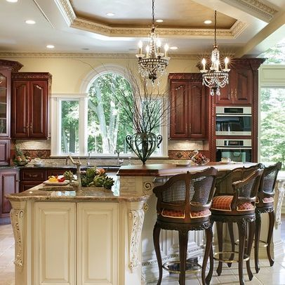 WALL COLOR-CREME BRULEE by BENJAMIN MOORE/ CABINETS by CRYSTAL CABINETS- CHERRY BRANDY and ISLAND-MAPLE ANTIQUE WHITE