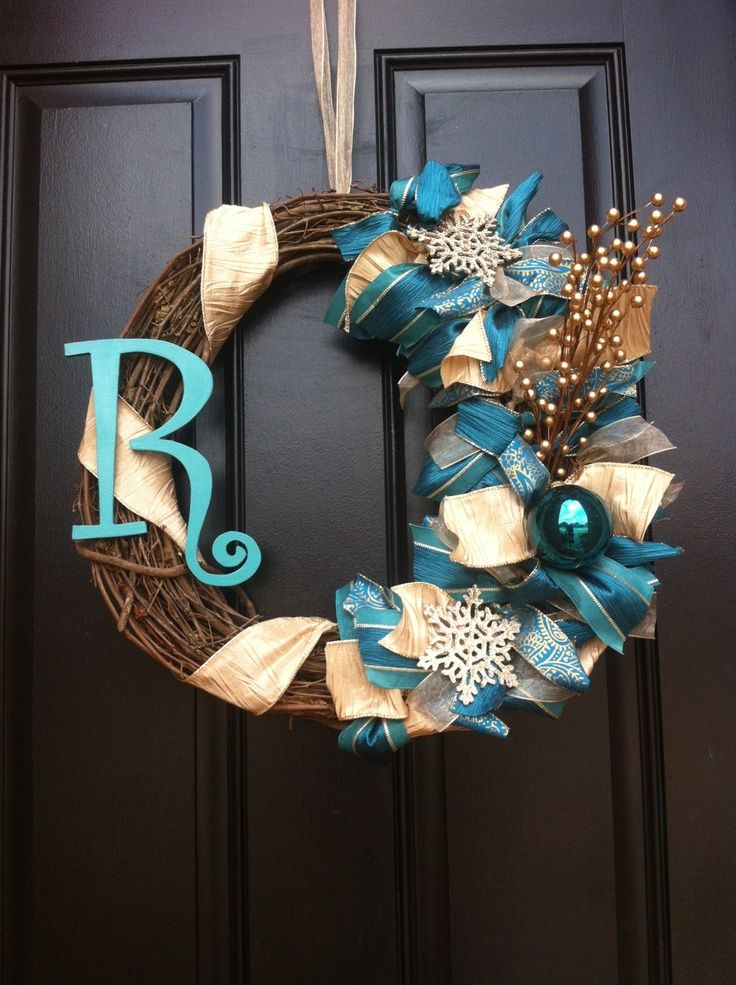 monogram winter wreath turquoise teal winter wreath winter wreath via etsy. Black Bedroom Furniture Sets. Home Design Ideas