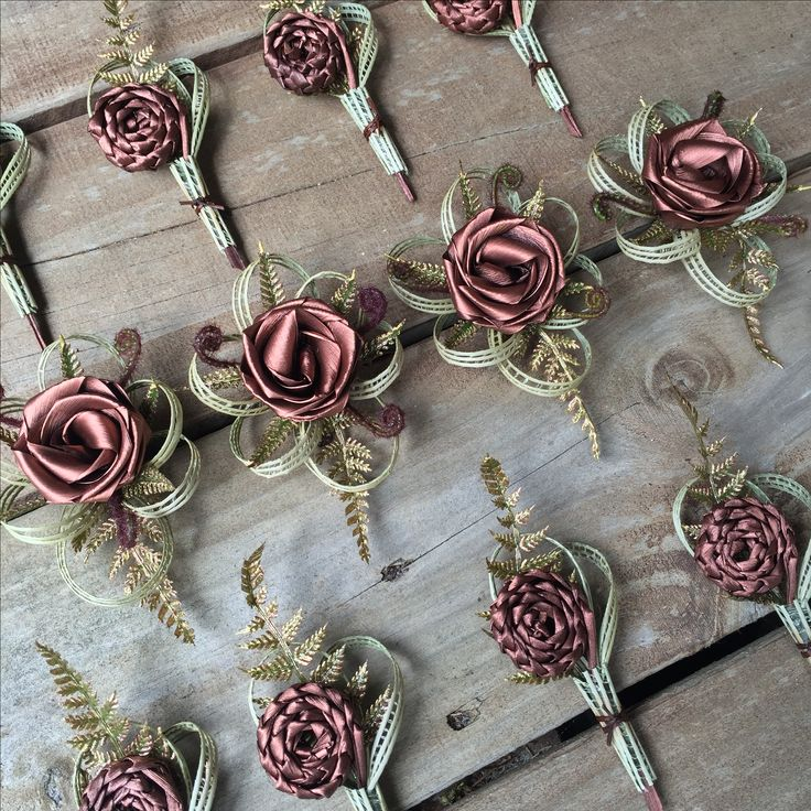 Copper corsages by Flaxation.