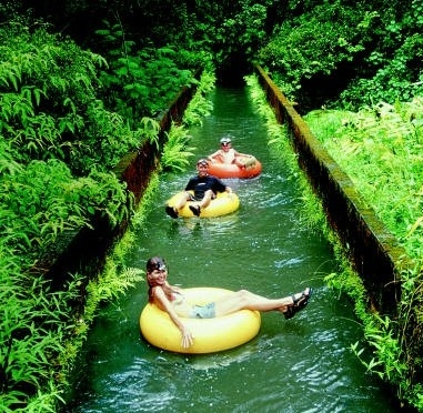 Tubing on old sugar cane canals on #Kauai the 4th largest island in #Hawaii