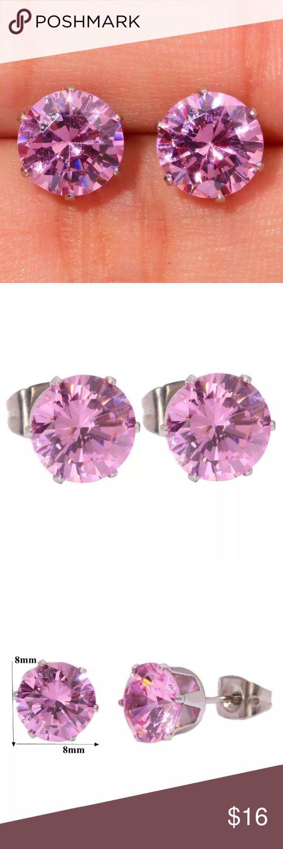 8mm Pink Topaz Gemstone & Stainless Steel Earrings Boutique