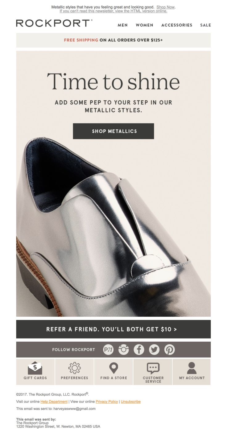 Rockport | Email Design Inspiration | Shoes, Clothing, Apparel | Metallic |  Ecommerce