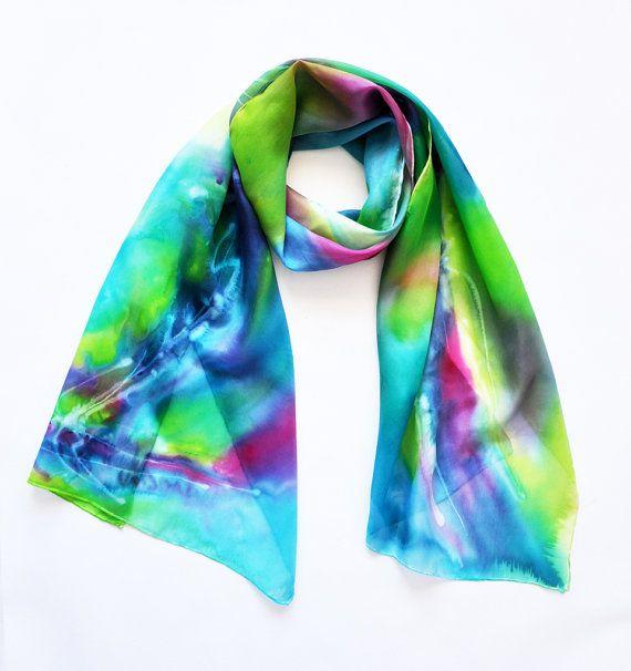 Hand painted silk scarf long scarf women scarf by KatarzynaKaMaART, $57.00