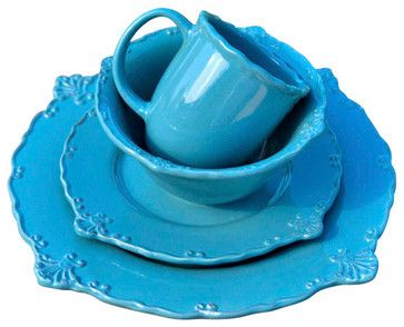 Rooster Dinnerware Set, Blue farmhouse-dinnerware-sets