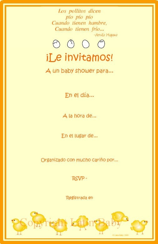 los pollitos baby shower invitation in spanish latin baby showers